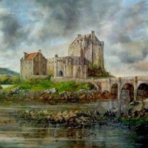 Château d'Eilian Donan 50x60 cm oeuvre de Daniel Trammer